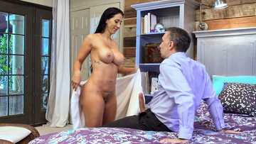 Valerie Kay wraps her big melons around his hard cock and gives him the best tittyfuck