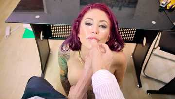 Gorgeous business woman Monique Alexander negotiates over a monster cock